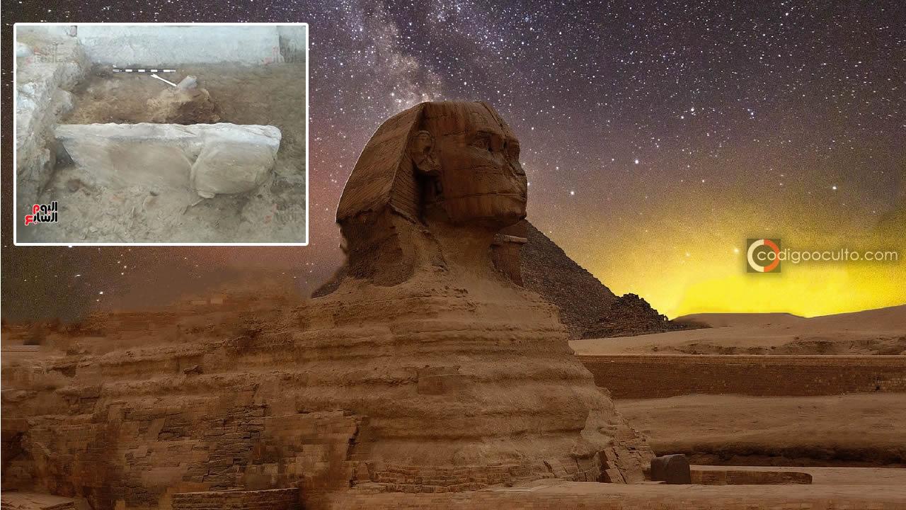 Revelan primeras imágenes de la Esfinge enterrada descubierta recientemente en Egipto