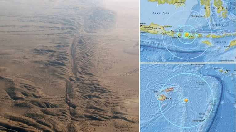 Terremotos de 8.2 y 6.8 golpean a Fiji, otro terremoto de 6.3 golpea Lombok, Indonesia