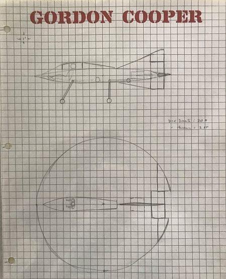 Diseño del «OVNI» de Gordon Cooper, realizado en base a sus investigaciones y observaciones.