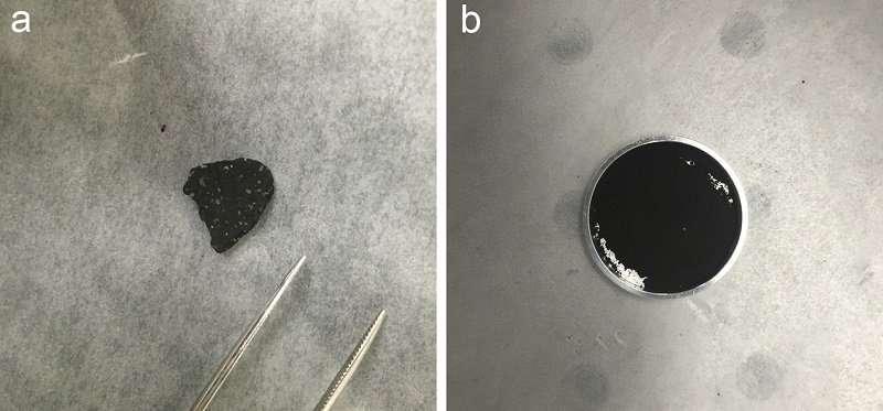 El nuevo estudio comparó los espectros del infrarrojo medio de un trozo del meteoroide Tagish Lake completo (derecha) y ground-up (izquierda) con los espectros recogidos de Phobos por la nave espacial Mars Global Explorer en 1998