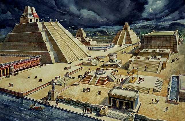 Representación de la ciudad de Tenochtitlan antes de la llegada de los españoles
