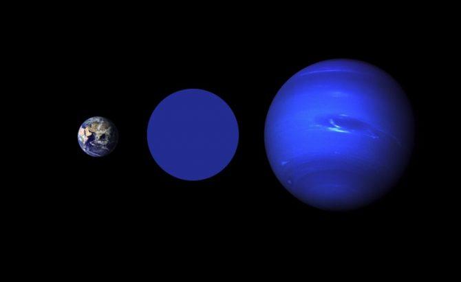 La Tierra, Wolf 503b y Neptuno, a escala