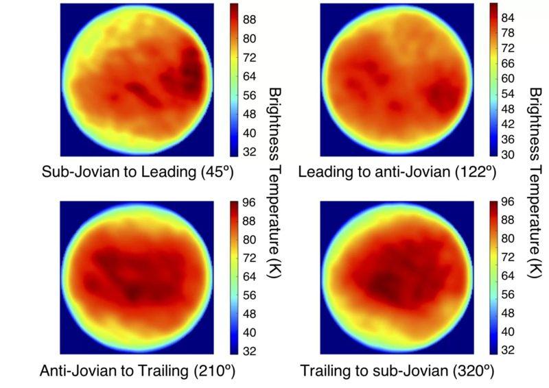 Las imágenes térmicas de Europa producidas como parte de la nueva investigación muestran una región extrañamente fría en la esquina superior izquierda de la imagen superior izquierda