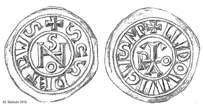 Las monedas tenían el monograma del Papa, posiblemente la Papisa Joan, una en el costado y el nombre del emperador de los Francos en el otro