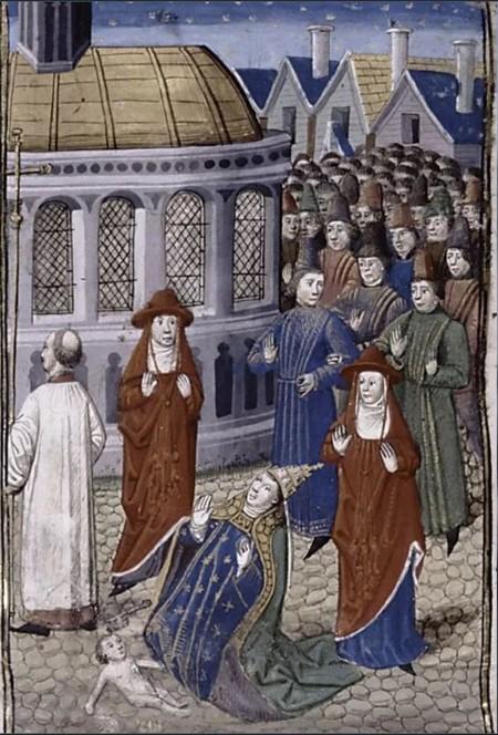 Esta obra de arte en miniatura muestra a la Papisa Joan, que acaba de dar a luz a un bebé durante una procesión de la Iglesia