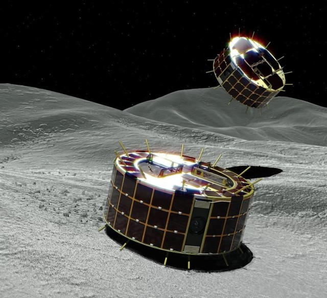 Representación artística de los rovers de salto de Hayabusa2, MINERVA-II1A (atrás) y MINERVA-II1B (primer plano), explorando la superficie del asteroide Ryugu