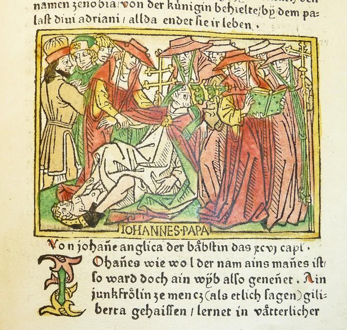 Representación medieval de la muerte de la Papisa Joan
