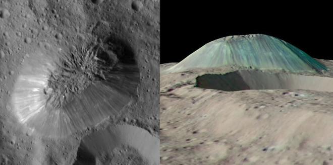 Imagen en alta resolución de Ahuna Mons y simulacion en falso color a partir de las imágenes captadas por la sonda Dawn en Ceres