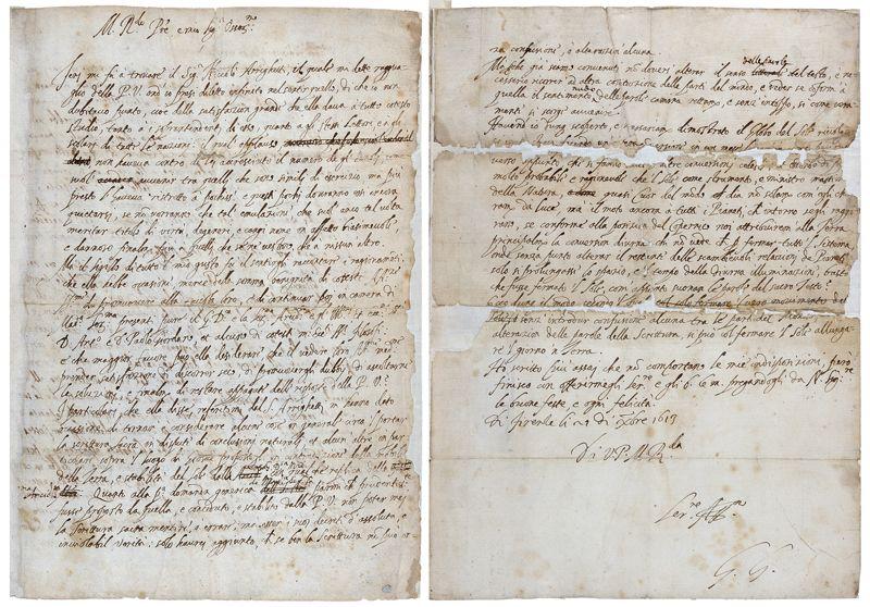 La primera y la última página de la carta de Galileo a su amigo Benedetto Castelli. La última página muestra su firma, «GG».