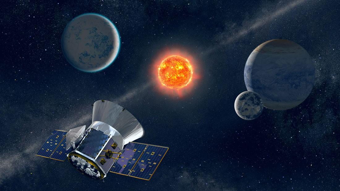 Representación artística de la nave espacial TESS observando una estrella enana M con planetas en órbita