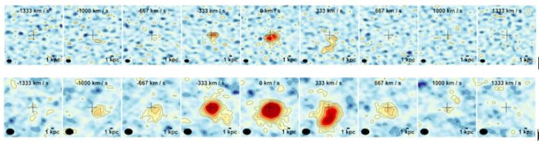 Imágenes en infrarrojo de la galaxia estudiada. Muestran la emisión de monóxido de carbono