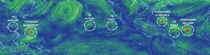 Velocidad del viento y líneas de corriente alrededor de los trópicos globales, destacando lo que ahora son seis ciclones tropicales activos.