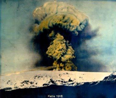 Antigua erupción en el volcán Katla.