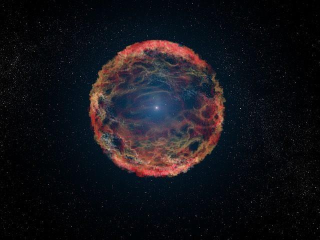 Representación artística de la «muerte de una estrella», una supernova.