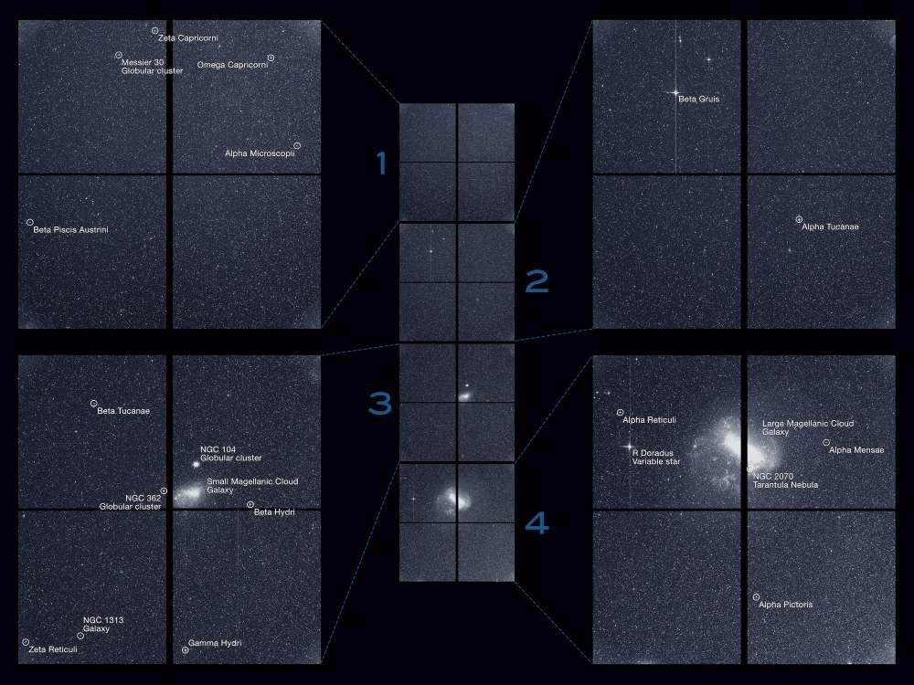 La primera imagen completa tomada por TESS muestra estrellas y galaxias en el cielo del sur durante un período de 30 minutos. Fue tomada el martes 7 de agosto