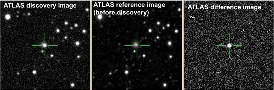 Las imágenes de los telescopios ATLAS muestran el punto después de la explosión a la izquierda, el punto anterior a la explosión en el medio y la diferencia entre los dos a la derecha.