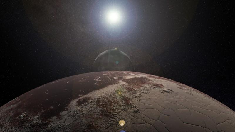 Representación artística del sistema de planeta enano Plutón-Caronte, que no es un sistema en el que las lunas tengan lunas