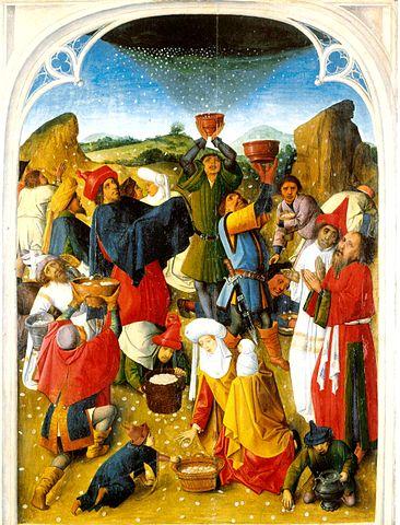 Recolección del Maná. Pintura del siglo XV