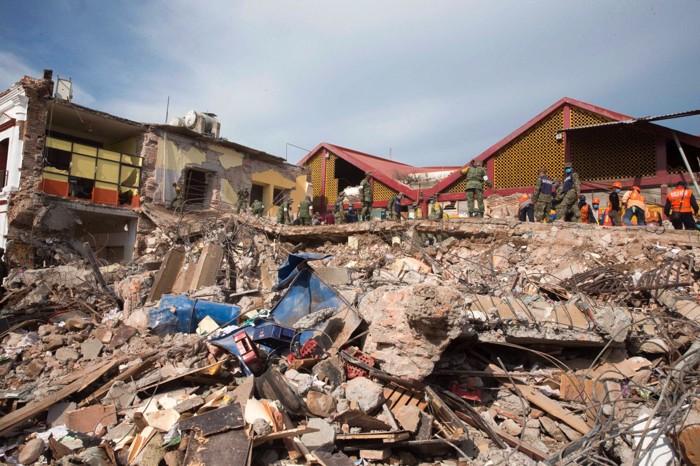 Palacio municipal de Juchitán de Zaragoza, derrumbado por el terremoto de Tehuantepec