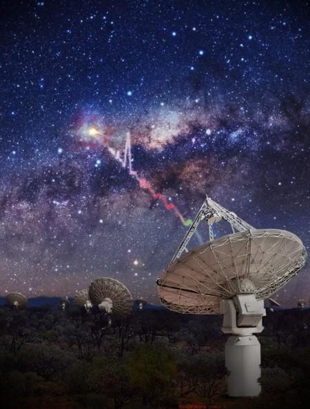 Una impresión artística del radiotelescopio ASKAP de CSIRO detectando una ráfaga de radio rápida (FRB)