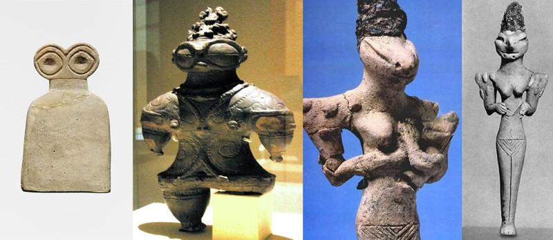 Comparación de los Ídolos de los Ojos con esculturas representativas de alienígenas ancestrales. Izquierda: Ídolo de los Ojos, Izquierda centro: EstatuaDogū. Derecha centro y derecha: estatua de Nammu, diosa Annunaki
