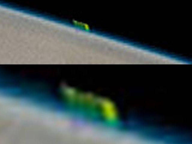 Acercamiento a la extraña forma de color verde ubicada sobre Júpiter