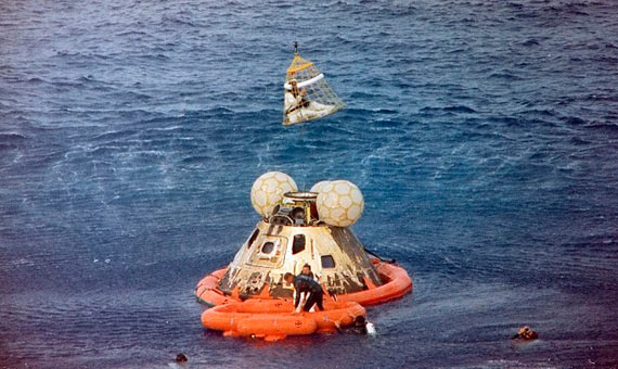 Tripulación de la misión Apollo 13 a su regreso a la Tierra