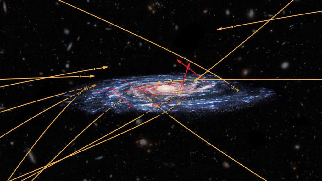 Esta imagen representa las posiciones y órbitas de 20 estrellas desplazándose a hipervelocidad
