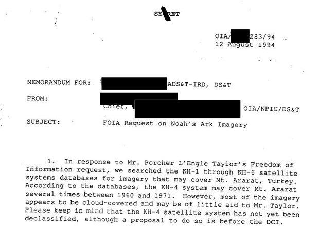 CIA: Documentos desclasificados revelan la participación del gobierno de EE.UU. en la búsqueda de Arca de Noé