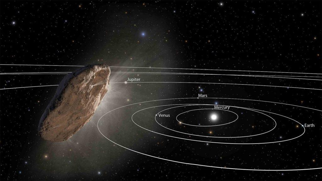 Representación artística de 'Oumuamua, el primer objeto interestelar descubierto en el Sistema Solar