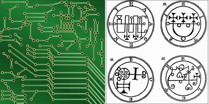 Los diseños tienen un parecido impresionante. A la izquierda: imagen de un circuito electrónico, a la derecha: diagrama de sigilos demoníacos de la llave menor de Salomón