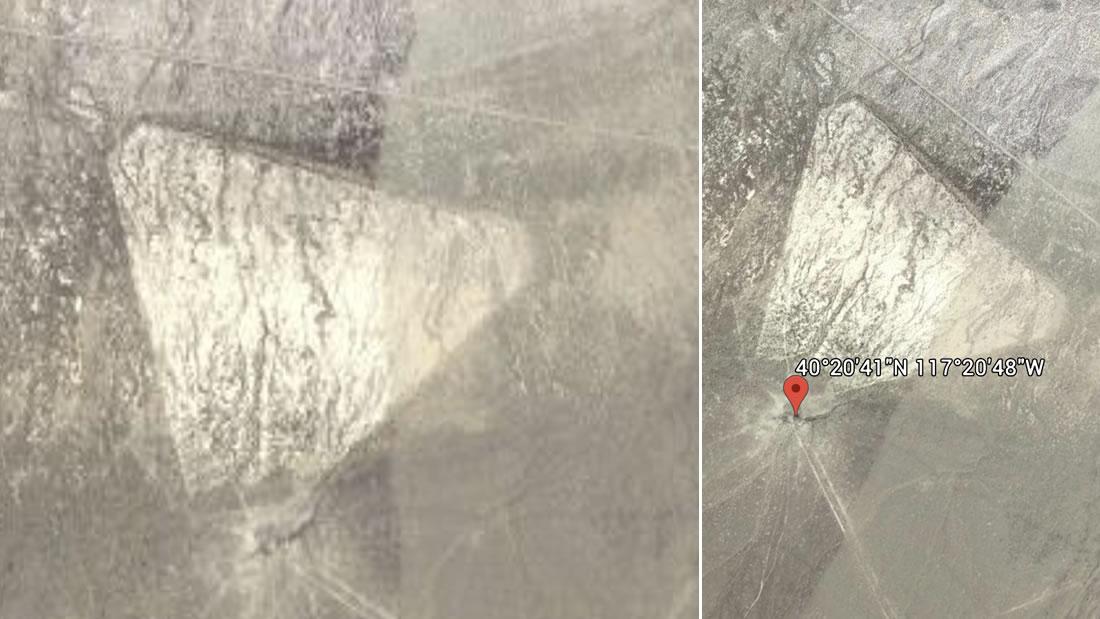 Hallan una extraña y gigantesca forma triangular en el desierto de Nevada