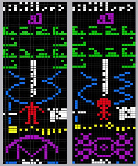 Izquierda: ilustración del Mensaje de Arecibo. Derecha: ilustración de la imagen impresa en el Círculo de cultivo de Chilbolton