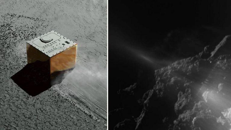 Nave espacial Hayabusa-2 devuelve imágenes del tercer rover en descender en un asteroide
