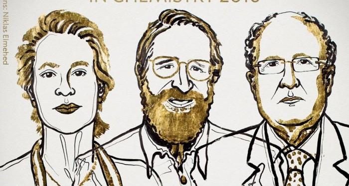 Representación artística de Frances Arnold, George Smith y Gregory Winter, ganadores del Premio Nobel de Química 2018