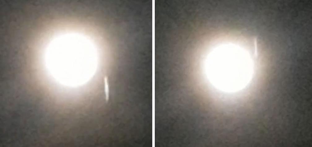 El supuesto objeto fue grabado mientras pasaba a toda velocidad. En estas dos tomas se aprecia el objeto atravesando el cielo «cerca» de la Luna