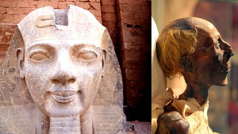 A la izquierda: Ramses II en el templo de Luxor en Egipto; a la derecha: momia de Ramsés II de perfil