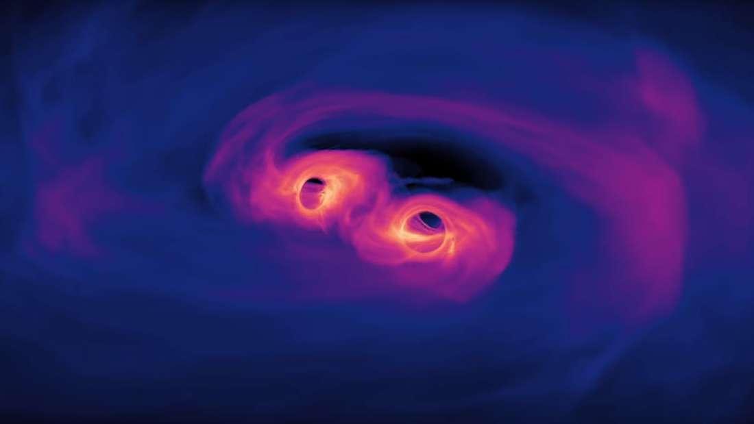 Simulación revela como los agujeros negros forman una espiral antes de fusionarse