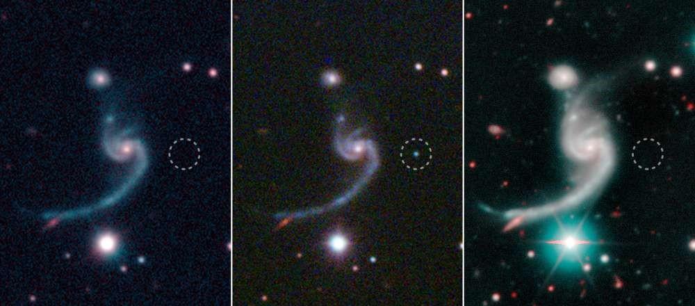 Estas tres capturas muestran la supernova antes, durante y después de la explosión