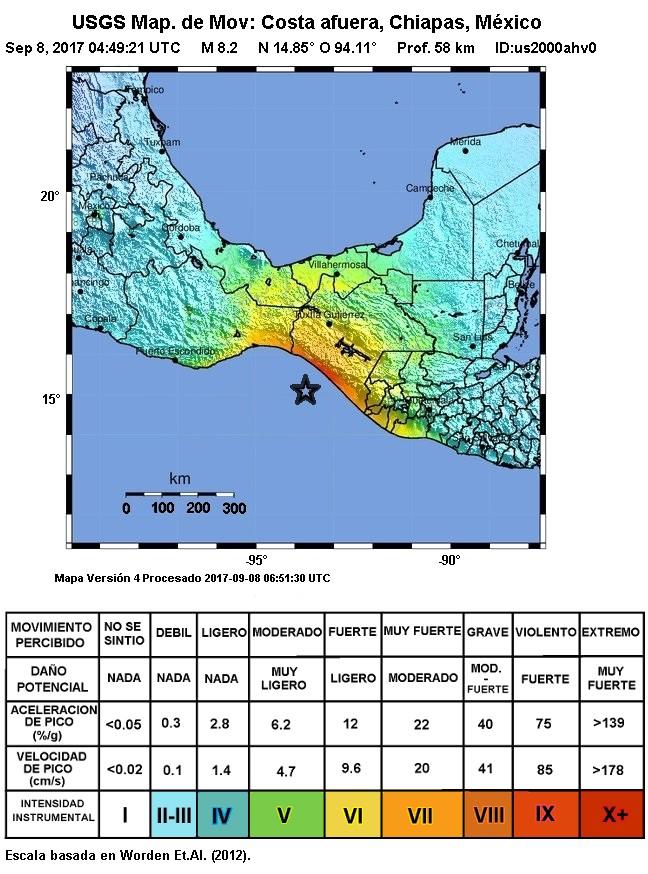 Intensidad del terremoto en Chiapas, México, 2017