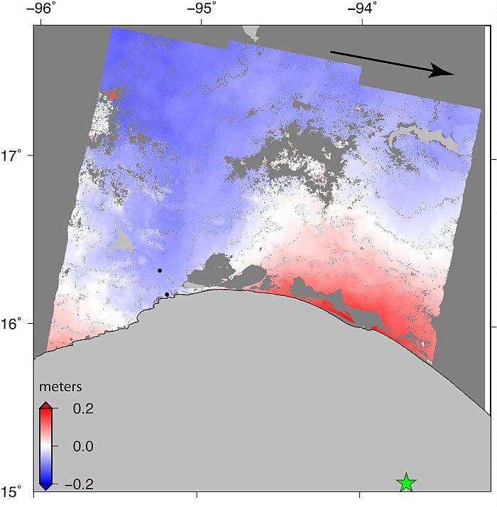 Datos de radar de la NASA que revelan el movimiento terrestre del terremoto