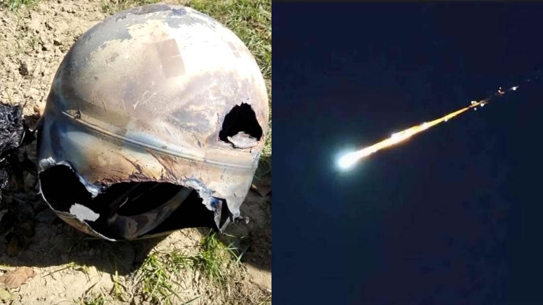 Esfera de metal casi intacta cae del espacio en una granja de California