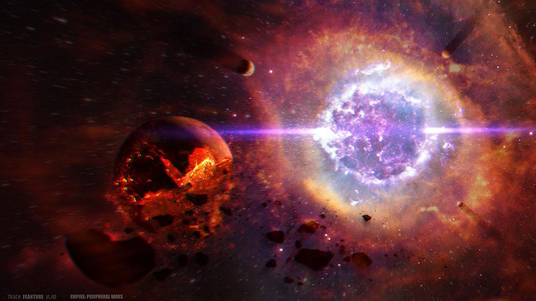 Una gigantesca explosión cósmica fue causada por el choque de dos estrellas