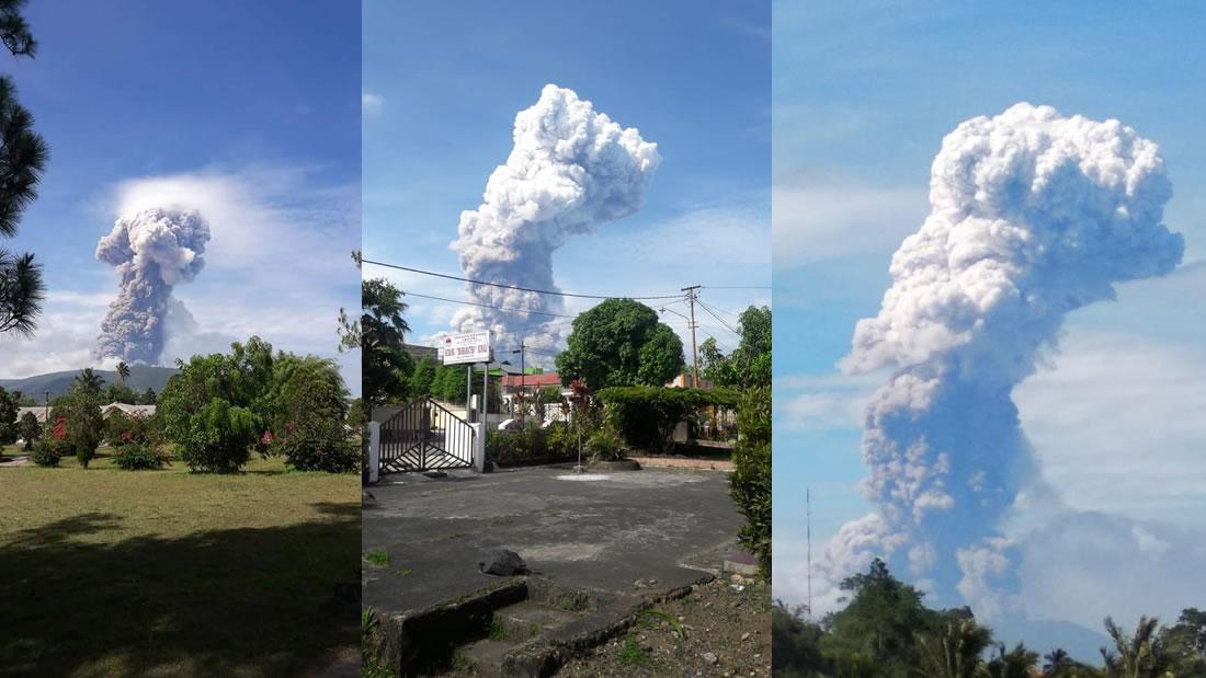 Volcán entra en erupción en isla de Célebes, Indonesia