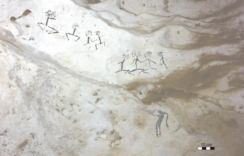 Figuras humanas de Kalimantan Oriental, Borneo de Indonesia. Este estilo está fechado en al menos 13.600 años atrás, pero posiblemente podría llegar a la altura del último máximo glaciar hace 20,000 años