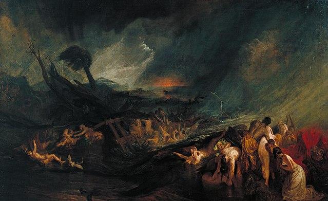 El Diluvio universal, ejemplo de uno de varios cataclismos hipotéticos que tuvo que ocasionar Dios para «reiniciar» civilizaciones