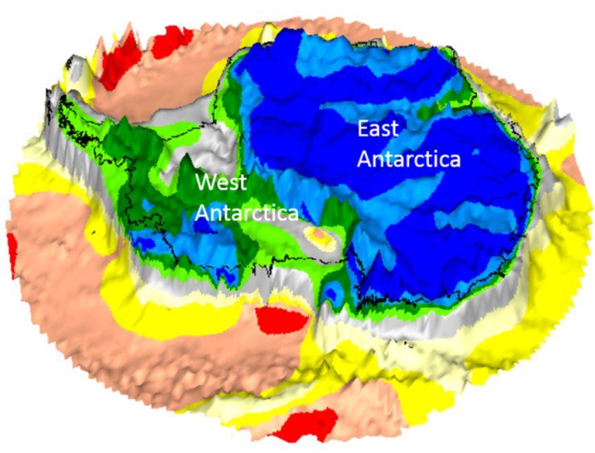 Topografía fundamental de la Antártida tomada por el satélite Gravity Field and steady-state Ocean Circulation Explorer de ESA