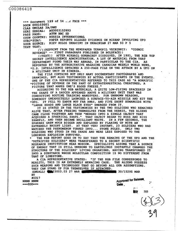 ¿Evidencia definitiva? El documento fue disuelto por la URSS y luego obtenido por la CIA