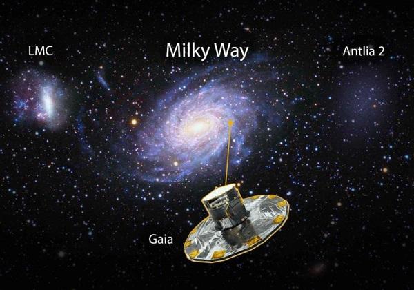 Representación de la Vía Láctea junto a la Nube de Magallanes (derecha) y la recientemente descubierta Antlia 2 (izquierda).