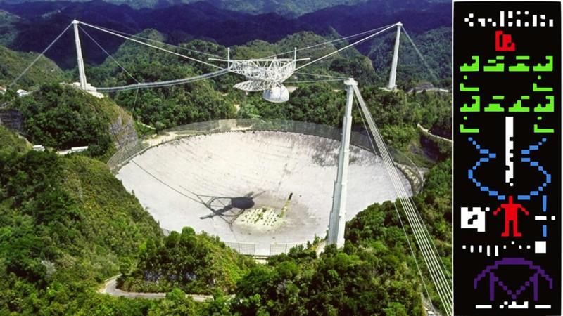 Radiotelescopio de Arecibo junto al Mensaje de Arecibo lanzado en 1974